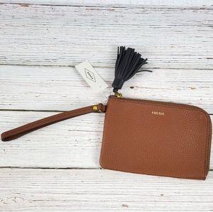Fossil Brown Leather Tara Wristlet NWT